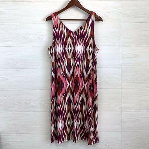 Athleta Soft Modal Western Print V Neck Dress